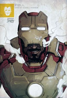 Iron Man Mark XLVII / Tony Stark by cheshirecatart