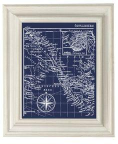 Digital Download Navy Blue  Vintage Ocean Map by OliveRuePress, $3.00