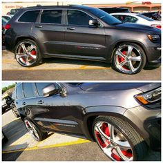 2014 Jeep Grand Cherokee SRT8 grey brushed wheels red inner barrel step lip