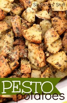 Pesto Potatoes from SixSistersStuff.com.  Just a few ingredients to this tasty side dish! #recipes #sidedish #potatoes #pesto