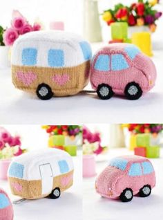 Knitting Patterns Toys Free Pattern for a Knitted Car and Caravan Toy Set Owl Knitting Pattern, Animal Knitting Patterns, Crochet Patterns Amigurumi, Free Knitting, Baby Knitting, Knitting Toys, Vogue Knitting, Knit Crochet, Softies