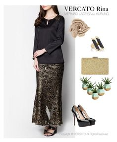 """""""VERCATO Rina Baju Kurung Moden"""" in gold and also available in silver. SHOP NOW: http://www.vercato.com/baju-kurung-moden-lace-skirt-vercato-rina-gold"""