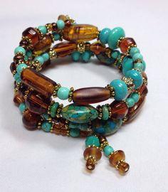Brown & Turquoise Elegant Wrap Bracelet TDC by TheaDesignConcepts