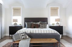 **This is my all-time favorite bedroom ever! Love the mix of light and dark, patterns, textures while still neutral. Love the simplicity of the headboard. **