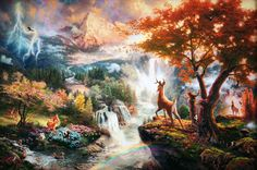 thomas kinkade | Thomas Kinkade's Disney Paintings - Bambi - Walt Disney Characters ...