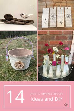 See how to create your own rustic Spring decor using a variety of different rustic elements. Create flowers, birds, baskets, and more. Small Flower Pots, Flower Planters, Flower Boxes, Burlap Flowers, Rustic Flowers, Spring Birds, Spring Flowers, Recycled Tin Cans, Old Crates