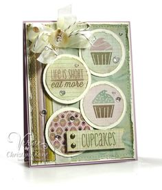 Card by Christyne Kane using Cupcakes (releases 8/30/14) from Verve.  #vervestamps