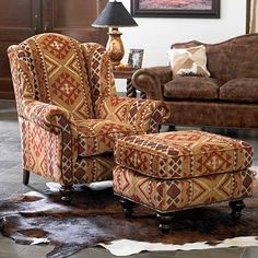 living room: Southwestern sunset chenille chair and ottoman from King Ranch Saddle Shop Southwestern Chairs, Southwestern Home, Southwest Decor, Southwestern Decorating, Western Furniture, Rustic Furniture, Living Room Furniture, Home Furniture, Living Room Decor