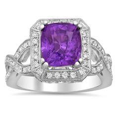Purple sapphire white diamonds white gold