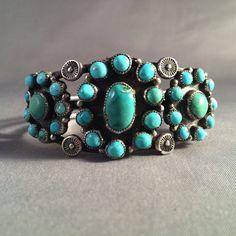 Vintage Zuni Blue-Green Turquoise & Silver 3-Cluster  Bracelet 43 Gms Great!!