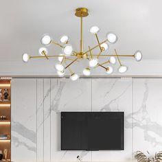 Lustre LED en métal verre à 9/12/15/18 lampes pour salon restaurant café Lustre Led, Led Chandelier, Living Room Lighting, Living Room Bedroom, Branches, Restaurant, Ceiling Lights, Pendant, Modern