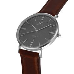 6ba657a674fc Mens Minimalist Watch Brown Leather Remsen 40mm Silver with Gray Metallic  Dial