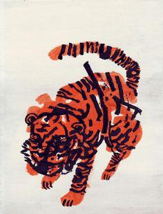 nivbavarsky: Tiger - Gouache, ink, flashe on cardboard Happy new year all, plenty of new working coming in -Niv Niv Bavarsky Gravure Illustration, Illustration Art, Graphic Illustrations, Creative Illustration, Gouache, Arte Popular, Art Plastique, Community Art, Art Inspo