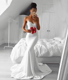 white prom dresses,lace prom dresses,mermaid prom dresses,spaghetti straps prom dresses by ain. Modest Evening Gowns, Prom Gowns Elegant, Formal Gowns, Dress Formal, White Formal Dresses, Elegant White Dress, Formal Prom, Straps Prom Dresses, Mermaid Prom Dresses