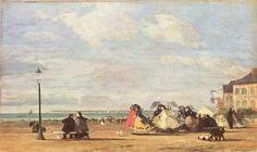 Eugène Boudin.  Kaiserin Eugenie am Strand von Trouville. 1863, Öl auf Leinwand, 34,5 × 57 cm. Glasgow, Art Gallery and Museum. Landschaftsmalerei. Frankreich. Impressionismus.  KO 01017