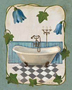 Bell Flower Bath I on Ivory アートプリント