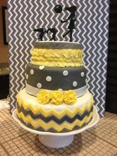 Gray and yellow chevron Baby shower cake!