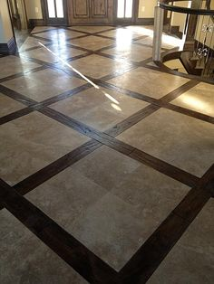 Travertine & Hardwood job by Katwyk Tile in Jordan, Utah love this floor!