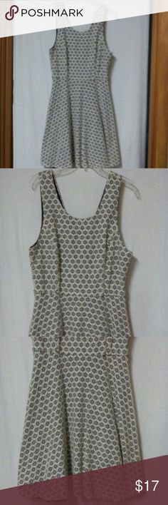 "Hearts Women's Size Large Sundress Barely worn, black and white floral lace pattern, lined, sleeveless, v back neck, exposed zipper in the back, cotton and nylon, chest 38"", length 34"" Hearts Dresses"