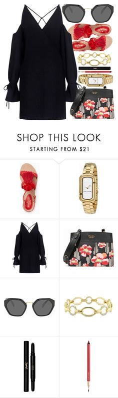 """""""Vacation"""" by jomashop ❤ liked on Polyvore featuring Kate Spade, Marc Jacobs, IRO, Prada, Versace 19•69, Yves Saint Laurent, Lancôme, black and red"""