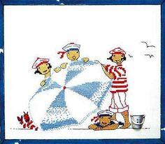 Children on the beach Cross Stitch Baby, Cross Stitch Charts, Cross Stitch Designs, Cross Stitch Patterns, Cross Stitching, Cross Stitch Embroidery, Rue Du Port, Stitches Wow, Graph Design