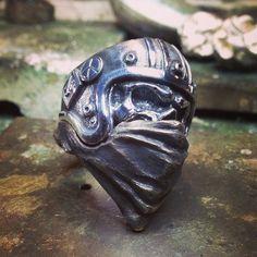 #skull #ring #helmet #silver #brass #freedom. on 3/2/2014