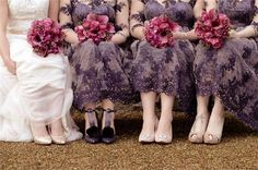 The wedding photographer of this image has captured the beauty of the bridal party's dresses, shoes and bouquets in the most perfect way. If we were the bride in this photo we would be so satisfied with how it's come out. This is serious purple wedding inspo.