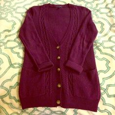 Maroon Button Down Cardigan Super cute and perfect for fall cardigan! This is in perfect condition with no snags, holes, missing buttons, etc. I'm selling this because I have too many bulky sweaters taking up too much room in my closet. Great deal! American Eagle Outfitters Sweaters Cardigans