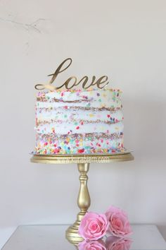 Marvelous Photo of Confetti Birthday Cake Confetti Birthday Cake Birthday Cake Naked Cake Engagement Cake Love Cake Confetti Pretty Cakes, Cute Cakes, Beautiful Cakes, Amazing Cakes, Bolo Confetti, Cake Trends 2018, Bolos Naked Cake, Nake Cake, Funfetti Kuchen