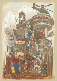 Our People and Our Will to Achieve by Lee Xin Li, via Behance Singapore National Day, Art Science Museum, Singapore Art, Batik Art, Beauty In Art, City Wallpaper, Inspirational Artwork, Urban Sketchers, Cup Design