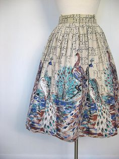 1950s peacock novelty print full skirt | Flickr - Photo Sharing!