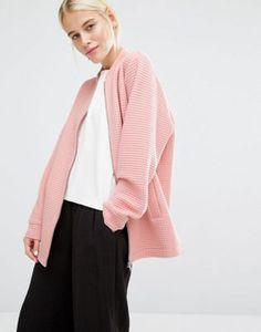 Monki Exclusive Grid Jersey Bomber Jacket
