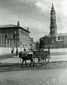 Plaza del Pilar, Zaragoza, 1949. Junior Year, Plaza, Big Ben, Madrid, San, Black And White, History, Building, Summer