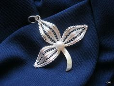Handmade Sterling Silver Three Leaves Filigree Pendant by TrulyFiligree, $30.75