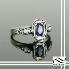 Custom Made Art Deco Sapphire And Pearl Engagement Ring