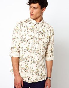 Image 1 ofVivienne Westwood Anglomania for Lee Shirt Miltary Floral Twill