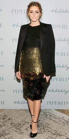 Olivia Palermo got into the holiday spirit at the Piperlime holiday party in a gold-dipped Piperlime Collection knit that she layered over a high-shine sequined Milly pencil skirt, styling the two with a sharp tuxedo jacket, a black clutch and ankle-strap heels.