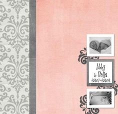 12 x 12 Baby Album--Baby album commemorating your child's first year of life--scrapbook template