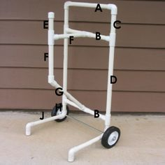Use PVC pipe to make this handy, mobile cart for your garden hose pipe. You can move it around and store a garden hose pipe with ease.