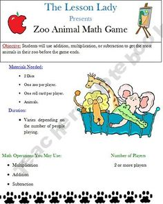 FREE Zoo themed math game that can be played using addition, multiplication, or subtraction.