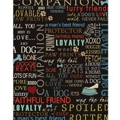 Dog Words Paw Print Bone Fire Hydrant Inspirational Pet Collage Typography Large Blue & Brown Canvas Art by Pied Piper Creative, Size: 8 x 10
