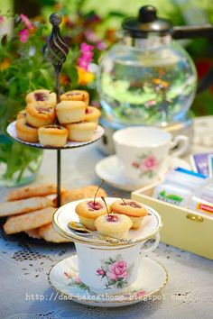 "Home made ....@Dao: Hight tea in my garden. "" Tiny Cherry and Almond Tea Cakes"""