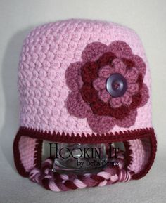 Girls - Womens Pink Hat With Large Flower