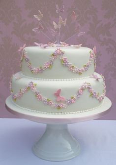 Christening Cake - Oh what a sweet, simple, elegant cake! One layer - Pretty Cakes, Cute Cakes, Beautiful Cakes, Fondant Cakes, Cupcake Cakes, Communion Cakes, Butterfly Cakes, Occasion Cakes, Girl Cakes