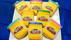 Personalized Play-Doh Decorated Roll Out Sugar Cookies for Birthday Boy or Girl Super Cookies, Cookies For Kids, Toddler Cookies, Playdough Cake, Play Doh Party, Game Party, Roll Out Sugar Cookies, Biscuits, Boy Birthday