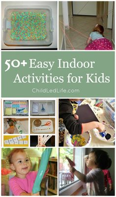 Are you ready for colder weather? Here are 50 + Easy Indoor Activities for Kids without the use of screen time at ChildLedLife.com
