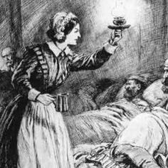 """Famous Nurses in History Florence Nightengale, the """"Lady with the Lamp"""" nursing British soldiers during the Crimean War."""