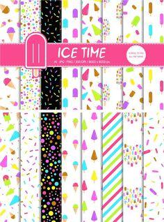 16 Ice Cream Icon Patterns by Nadezda Gudeleva on @creativemarket