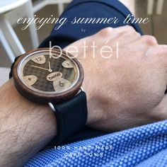 Wooden watch for man. 40mm diameter. Carbon Inlay Enjoy Summer, Summer Time, Wooden Watches For Men, Unique, Handmade, Accessories, Design, Wood Watch, Daylight Savings Time