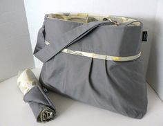 Monterey Bag  Diaper Bag Set - Medium - Solid Steel Grey And Optic Blossom or Custom Design Your Own
